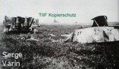 Wreckage of Tiger 007 in a field