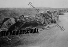 Column of wrecked Panzers at Hunt's Gap