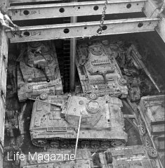 Captured Panzers in a ship