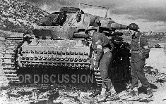 Pz.3 number 242 and British troops